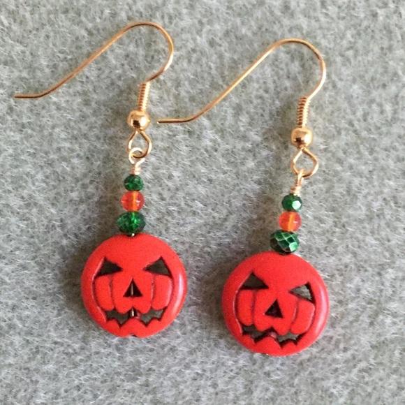 Halloween Jack O'Lantern Beaded Earrings #1